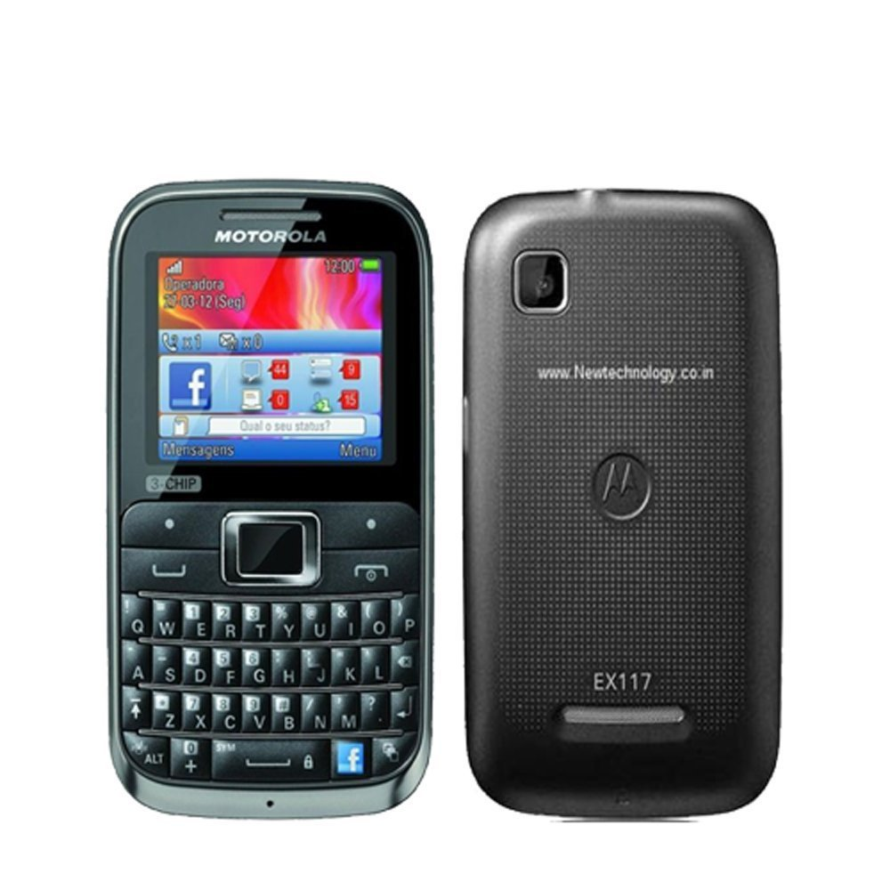 Camera Android Phone With Qwerty Keypad amazon com motorola motokey ex117 3 chip unlocked gsm phone with qwerty keypad 2 mp camera dedicated facebook button and micros