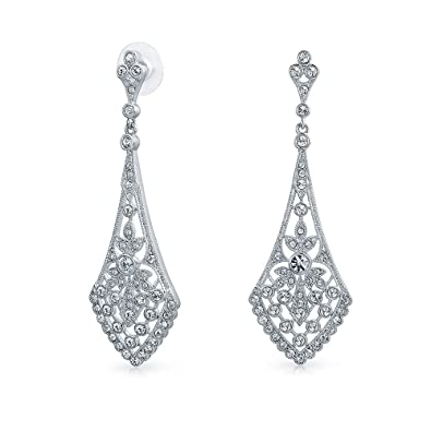Amazon leaves crystal bridal chandelier earrings rhodium plated leaves crystal bridal chandelier earrings rhodium plated brass aloadofball Images
