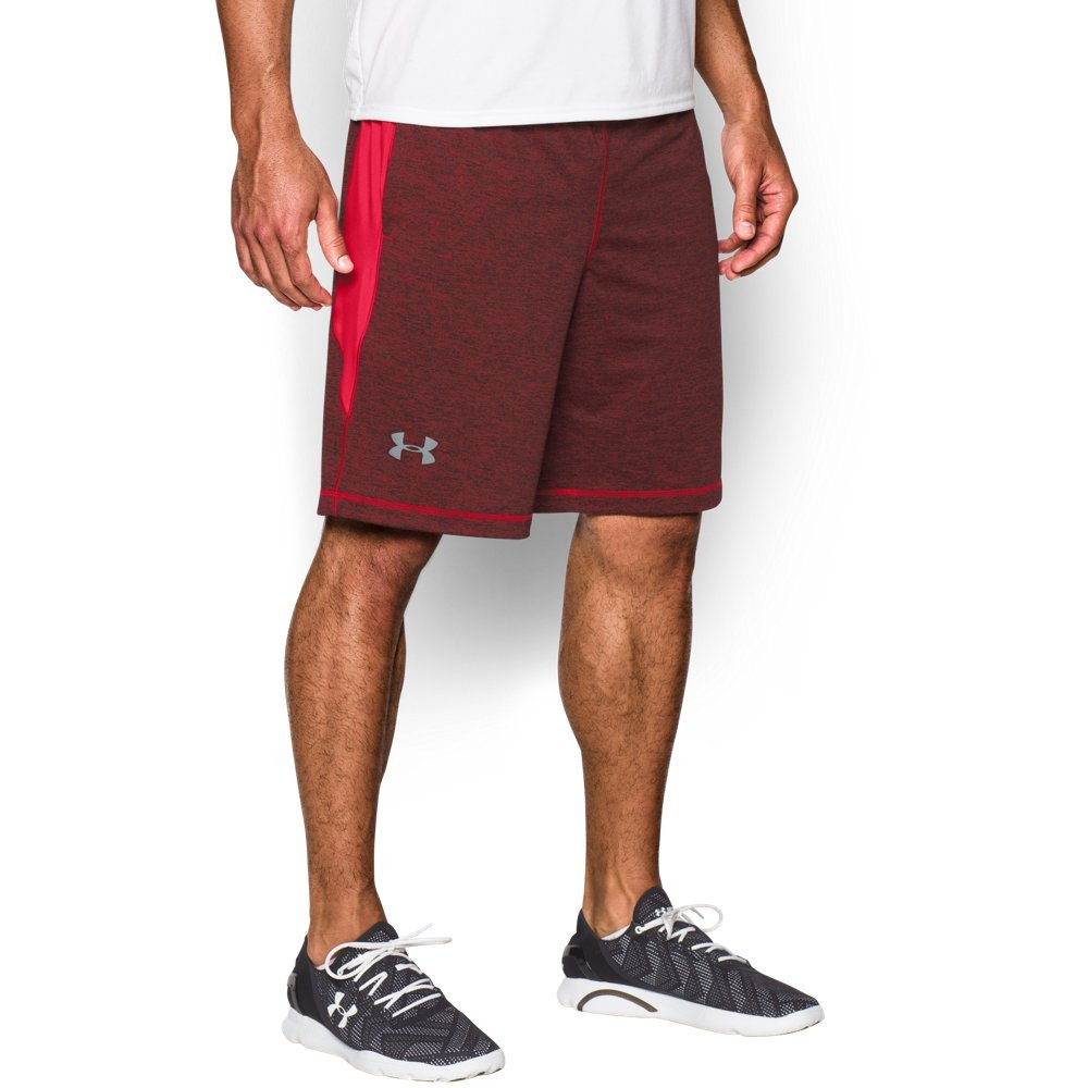 Under Armour Men's Raid Printed 10'' Shorts, Red (603)/Steel, Small by Under Armour