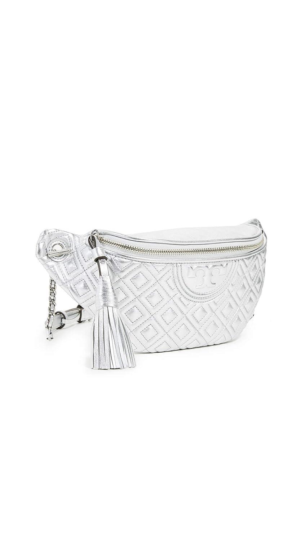 Tory Burch Womens Fleming Metallic Belt Bag Silver One Size