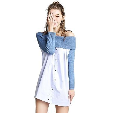 94e0129c7d BeMoreWithLess Women s 3 4 Sleeve Off Shoulder Stitching Ruched Button  Front Denim Dress
