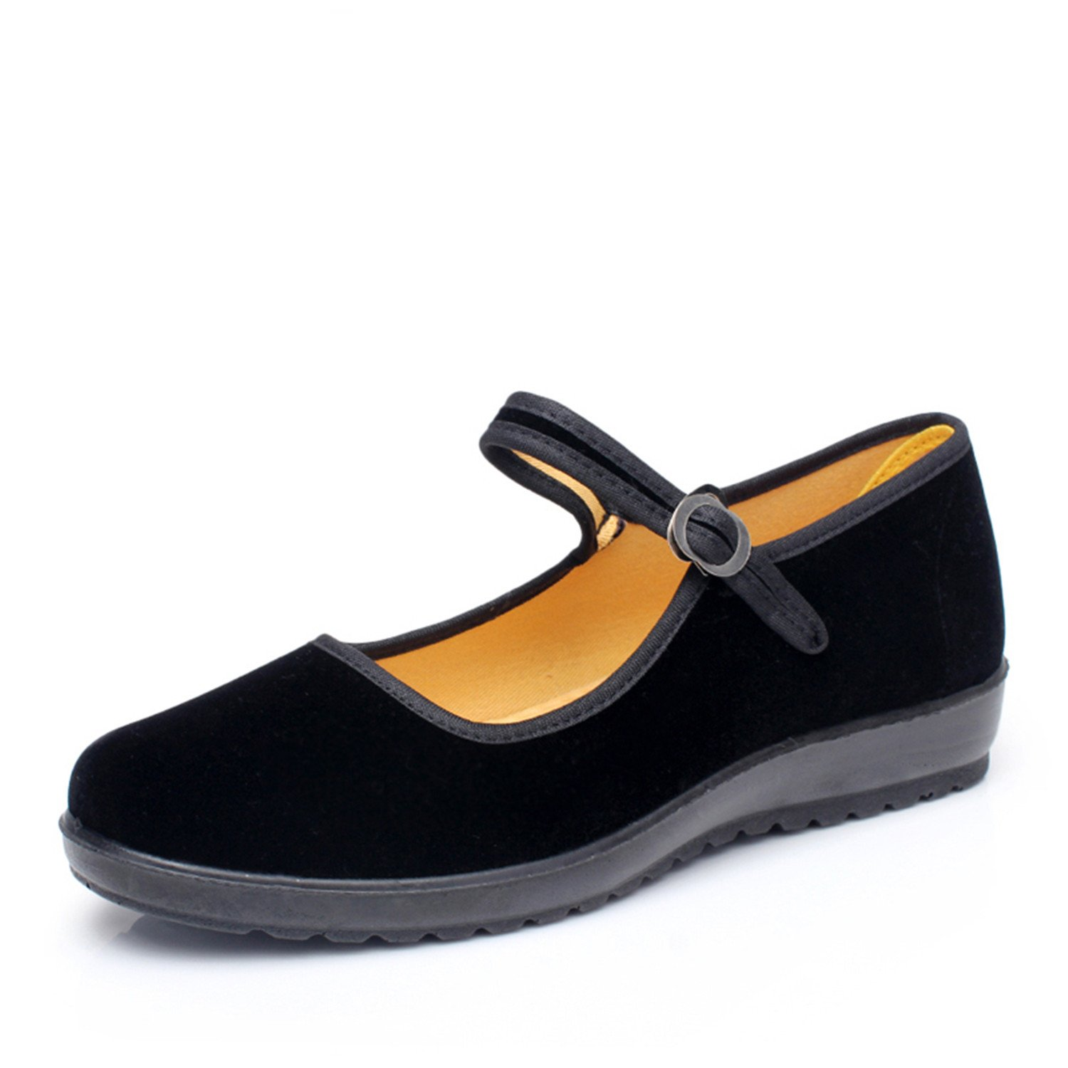 Surprising Day Classic Old Beijing Cloth Shoes Women Flats Soft Comfortable Mother Shoes Black Mary Janes Non-Slip Sole Cotton Breathable