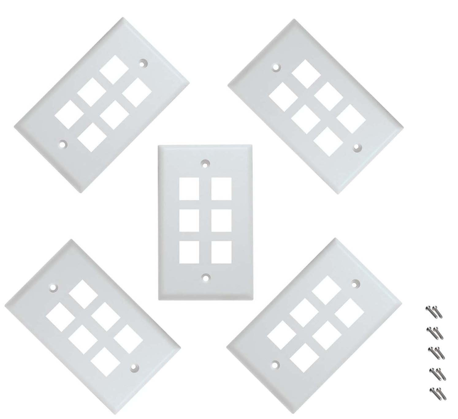 Wall Plate, 1 Port Keystone for RJ-45 RJ-11 RJ-12 RCA F-Type Jack - 5 Packs - PrimeCables®