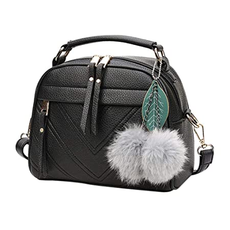 Aeoss Cute Ball Women Casual PU Leather Crossbody Bag Handbag Messenger Bag Shoulder Bags for Women and Girl (Black)