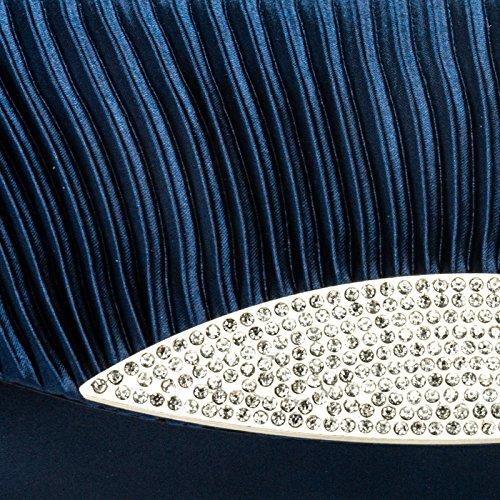 avec CASPAR strass décoratifs foncé TA289 pour à soirée Clutch bleu plusieurs main femme de Sac coloris wrwqB8R