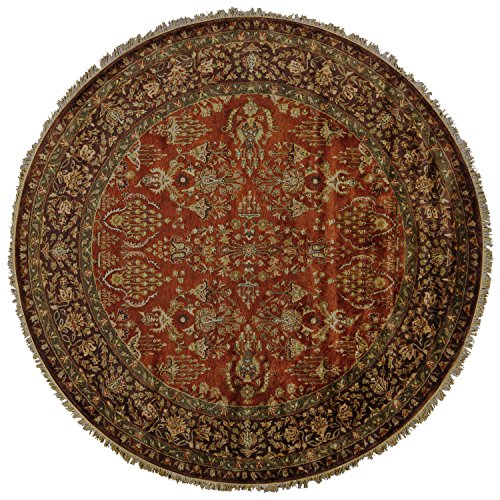 Feizy Rugs Amore Collection Round Imported Area Rug, 8' x 8', Cinnamon/Plum