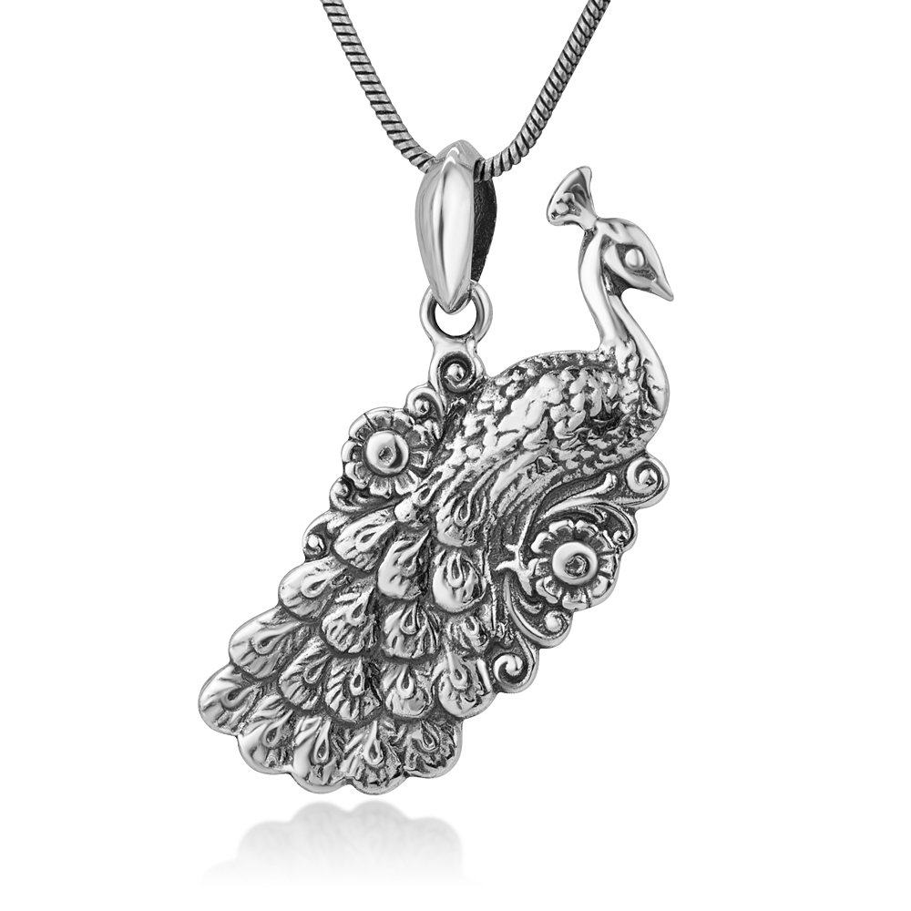 Chuvora 925 Oxidized Sterling Silver Detailed Peacock Antique Design Women Charm Pendant Necklace 18