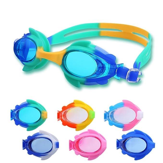 HZZymj-Wasserdichte Anti-Fog-Kinder-Schutzbrillen niedlichen Cartoon Kinder Brille Fisch - geformte Kinder Männer und Frauen Schwimmbrillen , 2