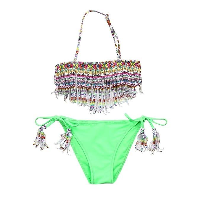 76278015b682 Coolster 2PC Kinder Mädchen Sommer Bikini Set Quaste Tops   Slips Bademode  (Alter 11