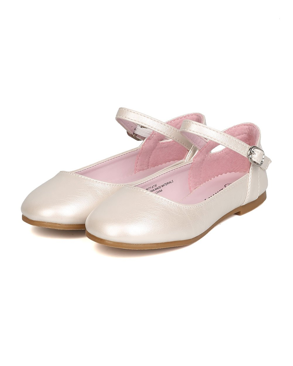 Girls Leatherette Ankle Strap Cut Out Ballet Flat GB42 - Ivory (Size: Little Kid 1) by Little Angel (Image #5)