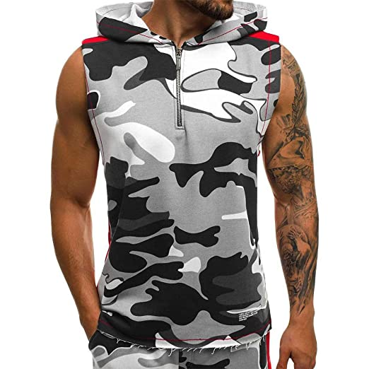 1b5b4419 Diconna Men's Bodybuilding Hoodie Sport Tank Top Vest Sleeveless Gym  Fitness Workout Muscle Hooded T-