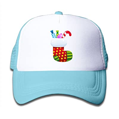 NO4LRM Kid's Boys Girls Christmas Stocking With Candy Youth Mesh Baseball Cap Summer Adjustable Trucker Hat