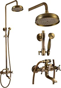 gotonovo Antique Brass Shower Fixture 8 Inch Rainfall Shower Head with Handheld Spray Dual Knobs Mixer Bathroom Triple Function Double Knobs Shower Combo Set Wall Mount