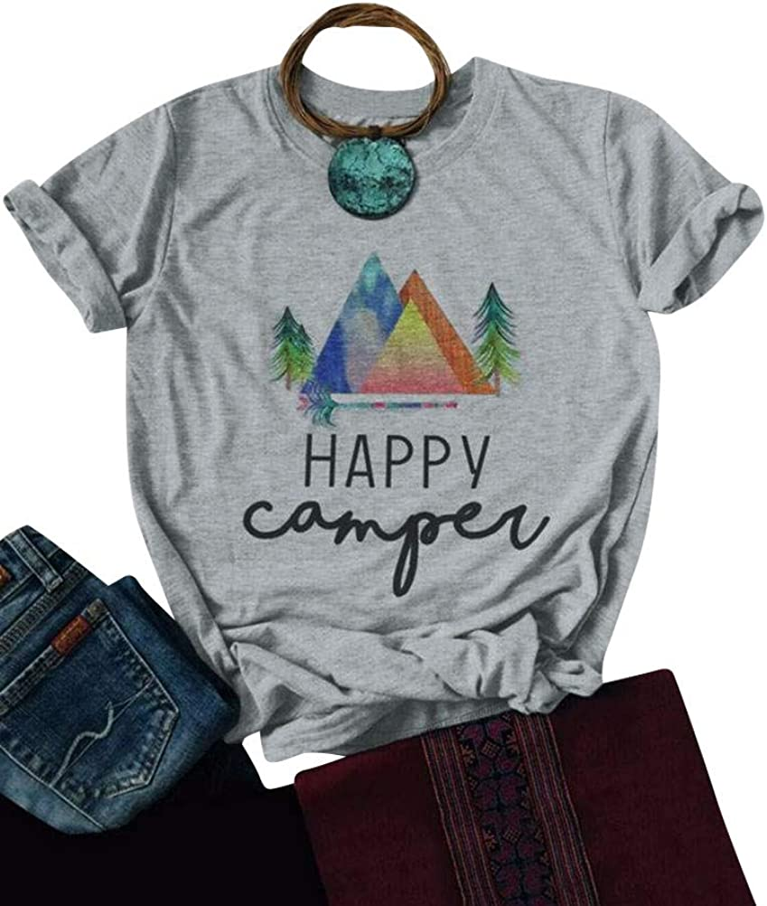 Nlife Women Casual Happy Camper Tee Shirts Hoodie Sweatershirt Graphic T Shirt Tops