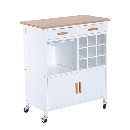 HomCom 35u0026quot; Kitchen Island Rolling Cart With 9 Bottle Wine Rack And  Stemware Storage