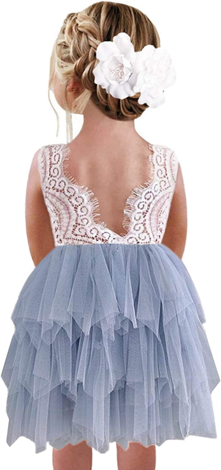 2Bunnies Girl Peony Lace Back A-Line Tiered Tutu Tulle Flower Girl Dress