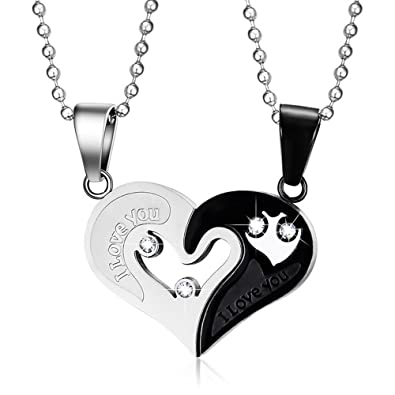 b50a6133fe Yeegor Stainless Steel Men Women I Love You Heart-Shape Pendant CZ Puzzle  Matching Couple