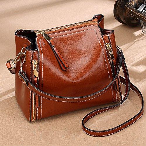 LEODIKA Bolso de las mujeres nuevo estilo bolsa de cuero real, el mini bolso, de las mujeres Bolsa de moda, marrón, marrón, trompeta 17cm