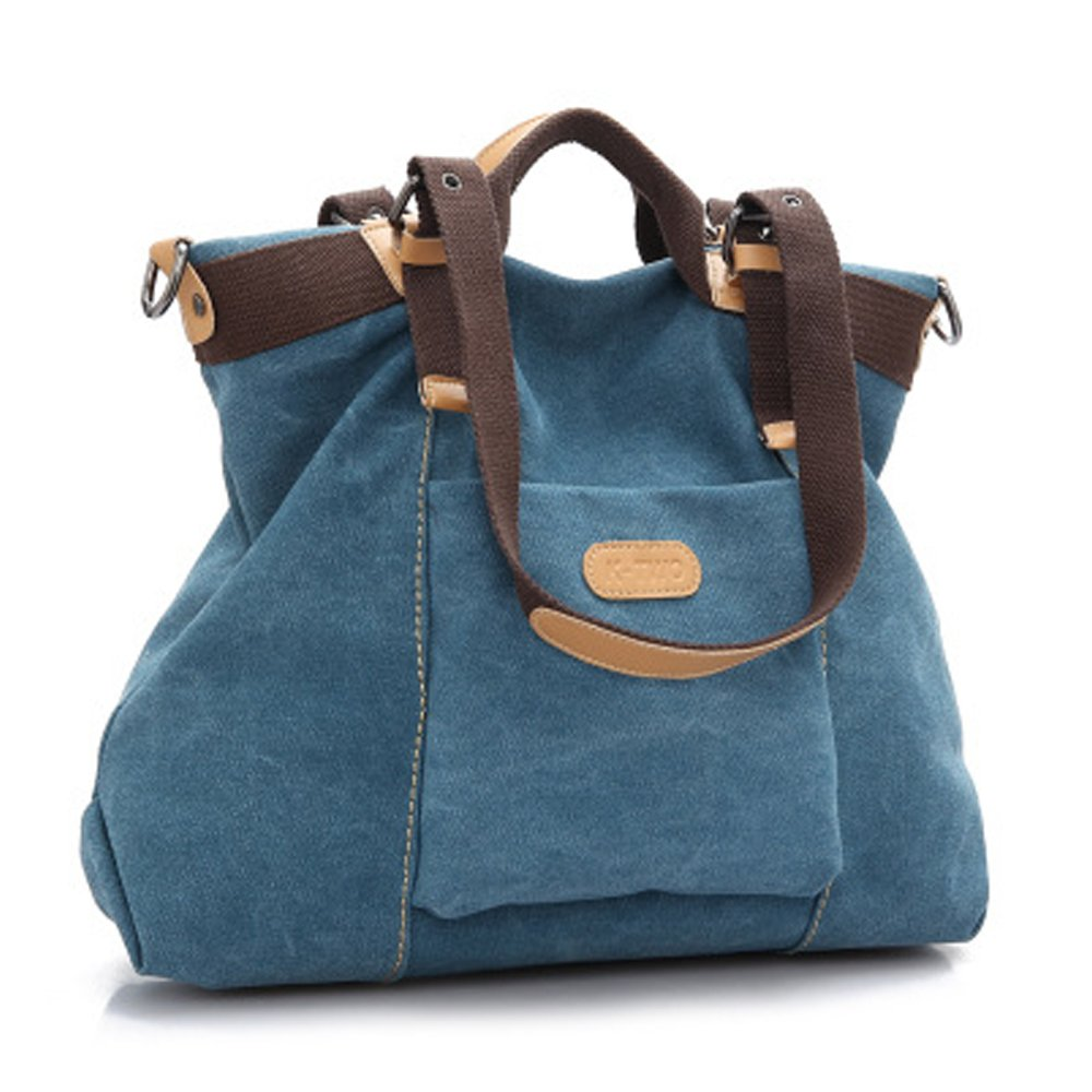Prep Tote Bags Canvas Women Shoulder Bags With Removable Strap (blue)