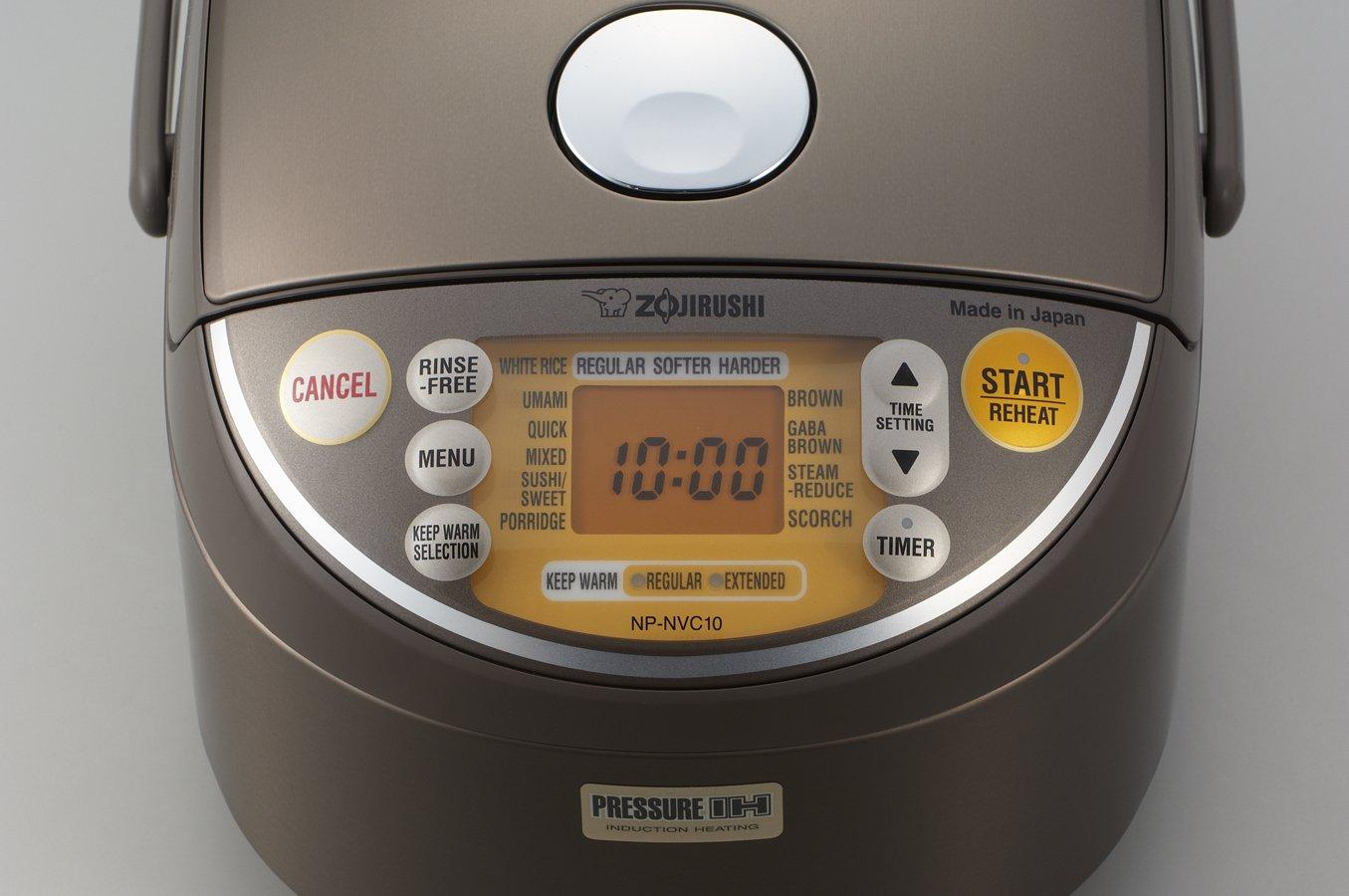 Zojirushi Induction Heating Pressure Rice Cooker & Warmer 1.0 Liter, Stainless Brown NP-NVC10 by Zojirushi