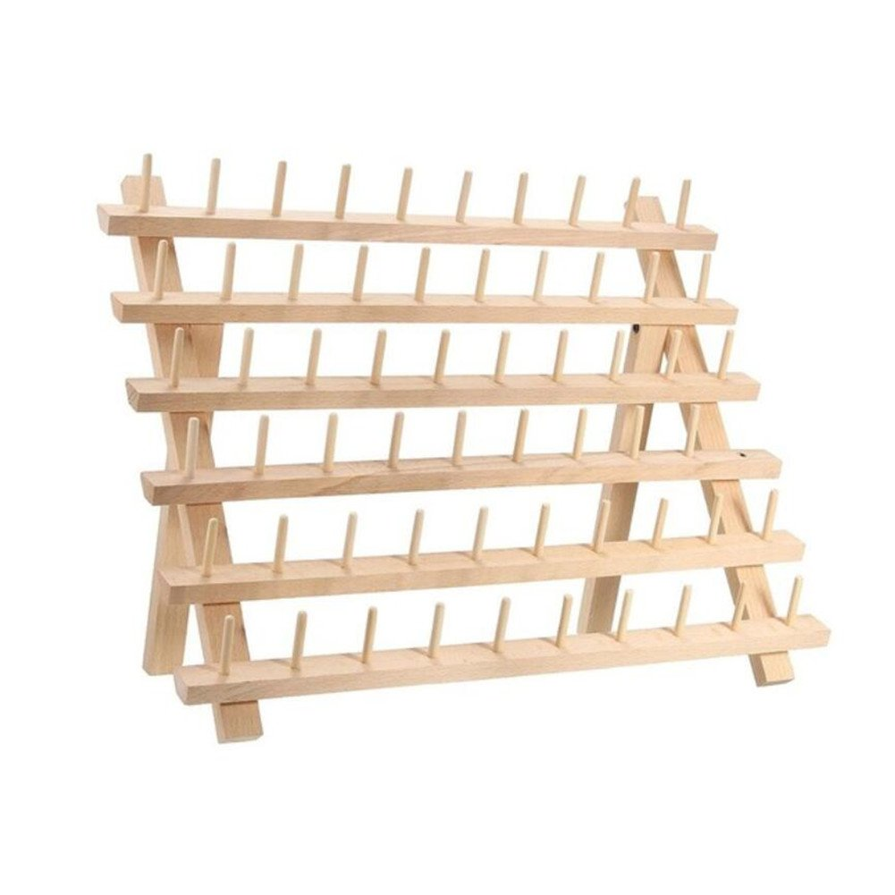 Sewing Quilting Embroidery Stand Holder Craft Sewing Tools Tailor Bobbin Thread Organizer Storage Holder Stand Rack 40x18.5x27.5cm 60 Spools Wooden Folded Thread Rack