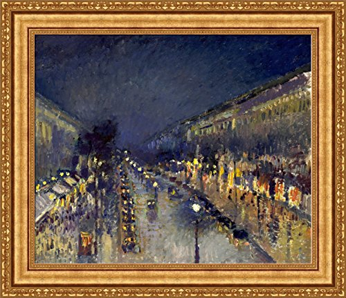 - Camille Pissarro The Boulevard Montmartre at Night Framed Canvas Giclee Print - Finished Size (W) 32.6'' x (H) 28.1'' [Gold] (S14-08K-MD535-01) - Enhanced Image