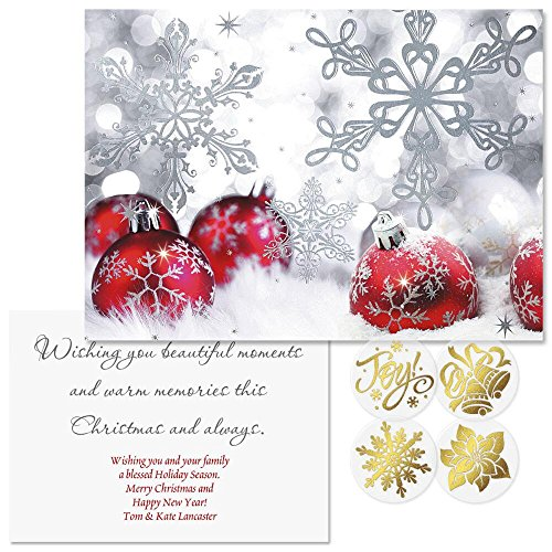 Silver Shimmer Foil Personalized Christmas Cards with Free Gold Foil Seals (Set of 24). ()