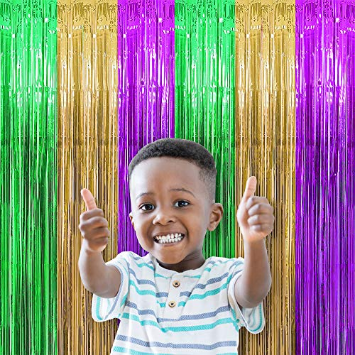 KKONETOY 2 Pack Mardi Gras Foil Fringe Curtains for Mardi Gras Party Photo Backdrop,for Mardi Gras Decoration Party Backdrop