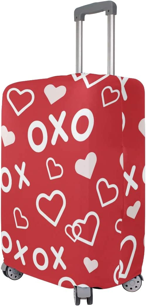 3D Heart Love XO Lettering Lovers Print Luggage Protector Travel Luggage Cover Trolley Case Protective Cover Fits 18-32 Inch