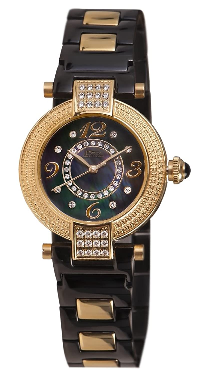 Daniel Steiger Allureブラック&ゴールドLadies Watch – Mother of Pearl Dial – Crystal Studded – 50 m水resistantMagnificentプレゼンテーションケース B00SN3VIFM