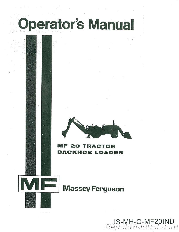 JS-MH-O-MF20IND Massey Ferguson MF20 Industrial Operators Manual:  Manufacturer: Amazon.com: Books