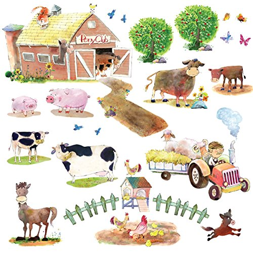 Decowall DW-1407 Pony Club and Farm Animals Kids Wall Decals Wall Stickers Peel and Stick Removable Wall Stickers for Kids Nursery Bedroom Living ()