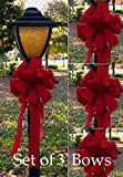 Set of 3 Wired Red Velvet Wired Christmas Bows