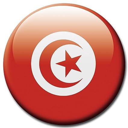 Imán con la bandera de Túnez, de Guma Magneticum, redondo ...