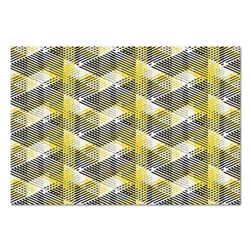 Large Wall Mural Sticker [ Yellow and White,Geometric Pattern with Stripes Triangles Abstract Shapes 80s Style,Yellow Black White ] Self-adhesive Vinyl Wallpaper / Removable Modern Decorating Wall -