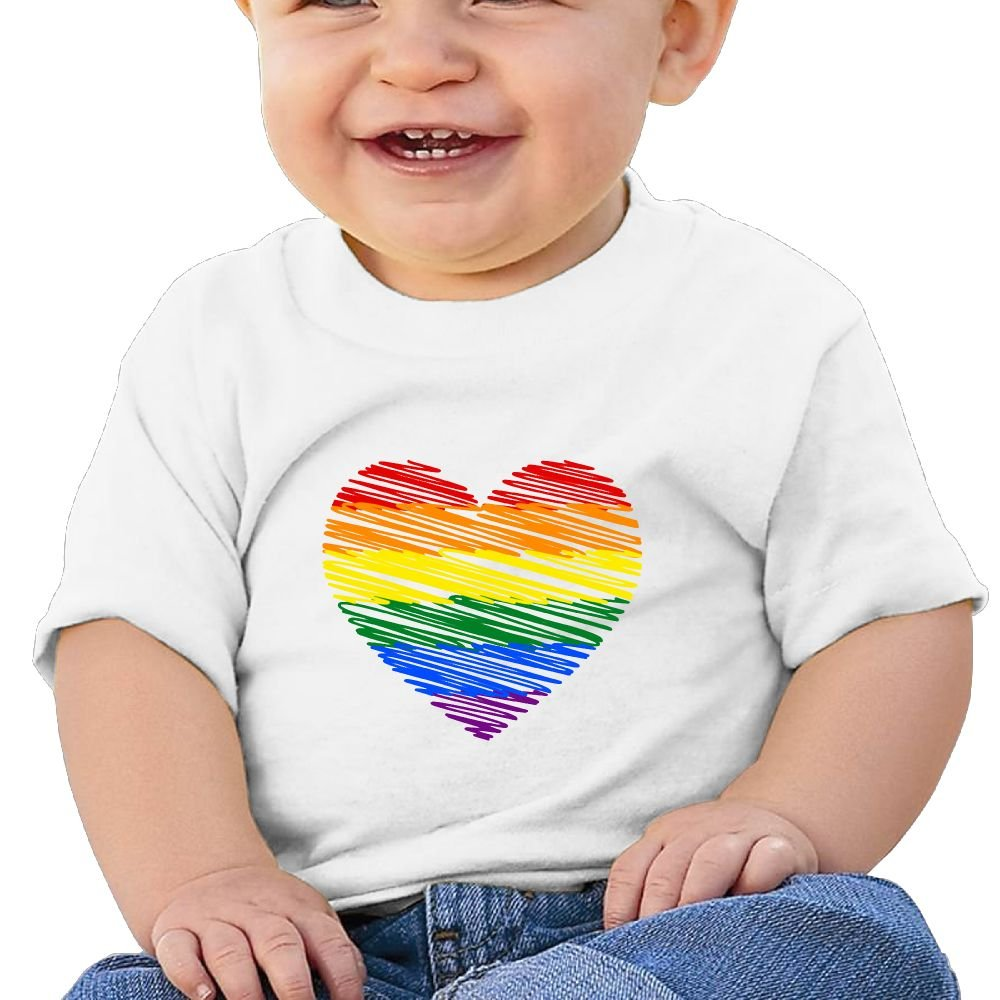 Stripe of Love Gay Pride Heart Cotton Short Sleeve T Shirts for Baby Toddler Infant