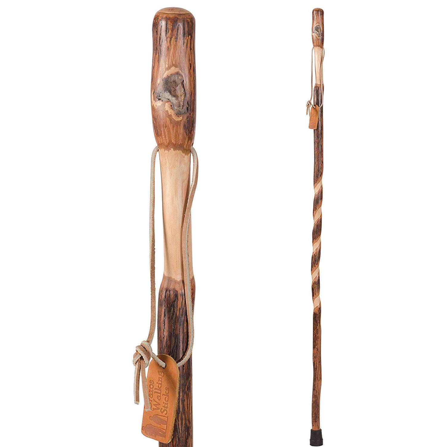 Brazos Trekking Pole Hiking Stick for Men and Women Handcrafted of Lightweight Wood and made in the USA, Hickory, 55 Inches