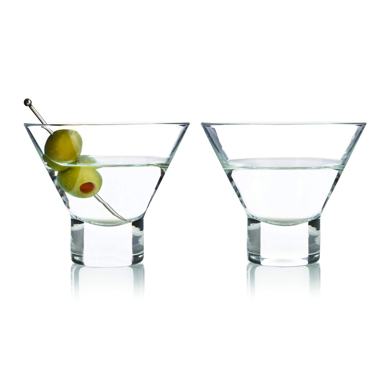 Viski 3718 Stemless Martini Glasses Raye Cocktail Glassware, (2 pack)