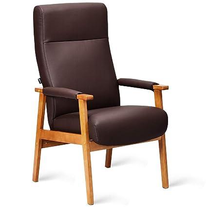 Amazon Com Brown Pu Leather High Back Chair Lounge Wood Frame