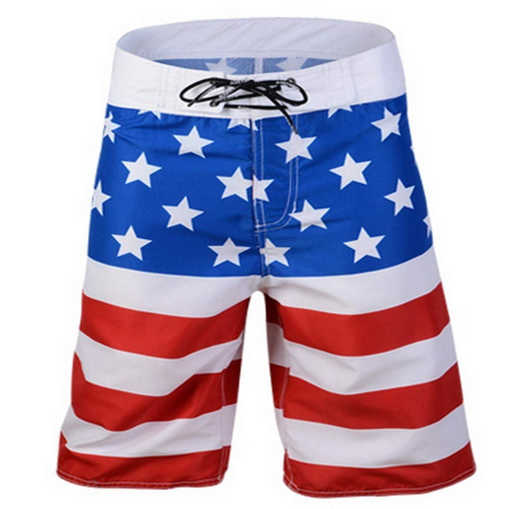 FANORAD 2019 Summer Mens Shorts Independence Day Flag Swim Trunks Swimming Beach Short Pants