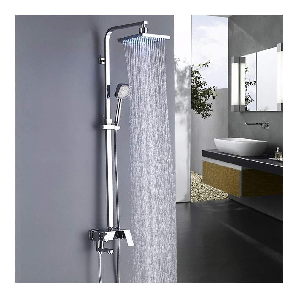 EODUDO-Home Improvement Wandmontage LED Birne Dusche Regen Dusche Wasserhahn Set heiß und kalt Mixer Badewanne Dusche Wasserhahn, 8