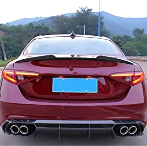 LLKUANG Real Carbon Fiber Car Trunk Rear Spoiler Boot Lip Molding Wing Trim for Alfa Romeo Giulia 2015-2019