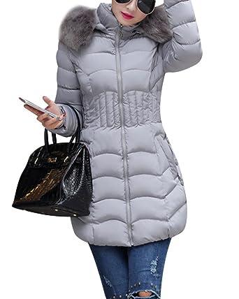 quality design eda29 4ad24 Kasen Donna Lungo Cappotto Cappuccio Piumino Giubbino Cappotti Collo di  Elegante