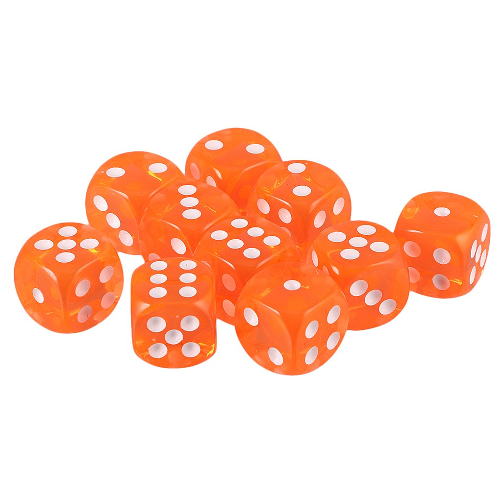 Bonarty 10pcs Juego de Mesa Dados Poli/édricosde 10 Caras con Puntos Numerados Juguete de Entretenimiento para Ni/ños Adultos Naranja