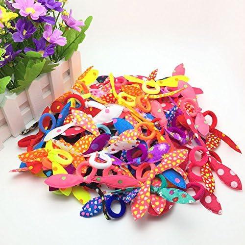Random Color Vikenner 100 Pcs Ear Hair Bow Tie Bands Hair Rope Elastic Ponytail Holder for Kids Toddler Baby Girls