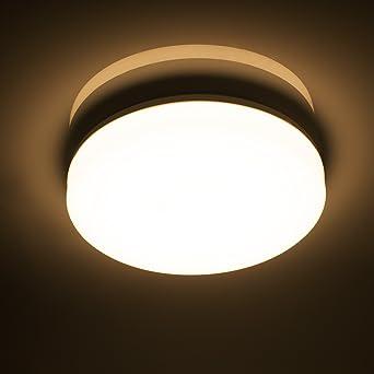 Öuesen 18W Wasserdichte LED-Lampe Decke Moderne dünne Runde LED bündige  Deckenleuchte 1650lm Warmweiß 3000K LED Deckenlampe für Badezimmer ...