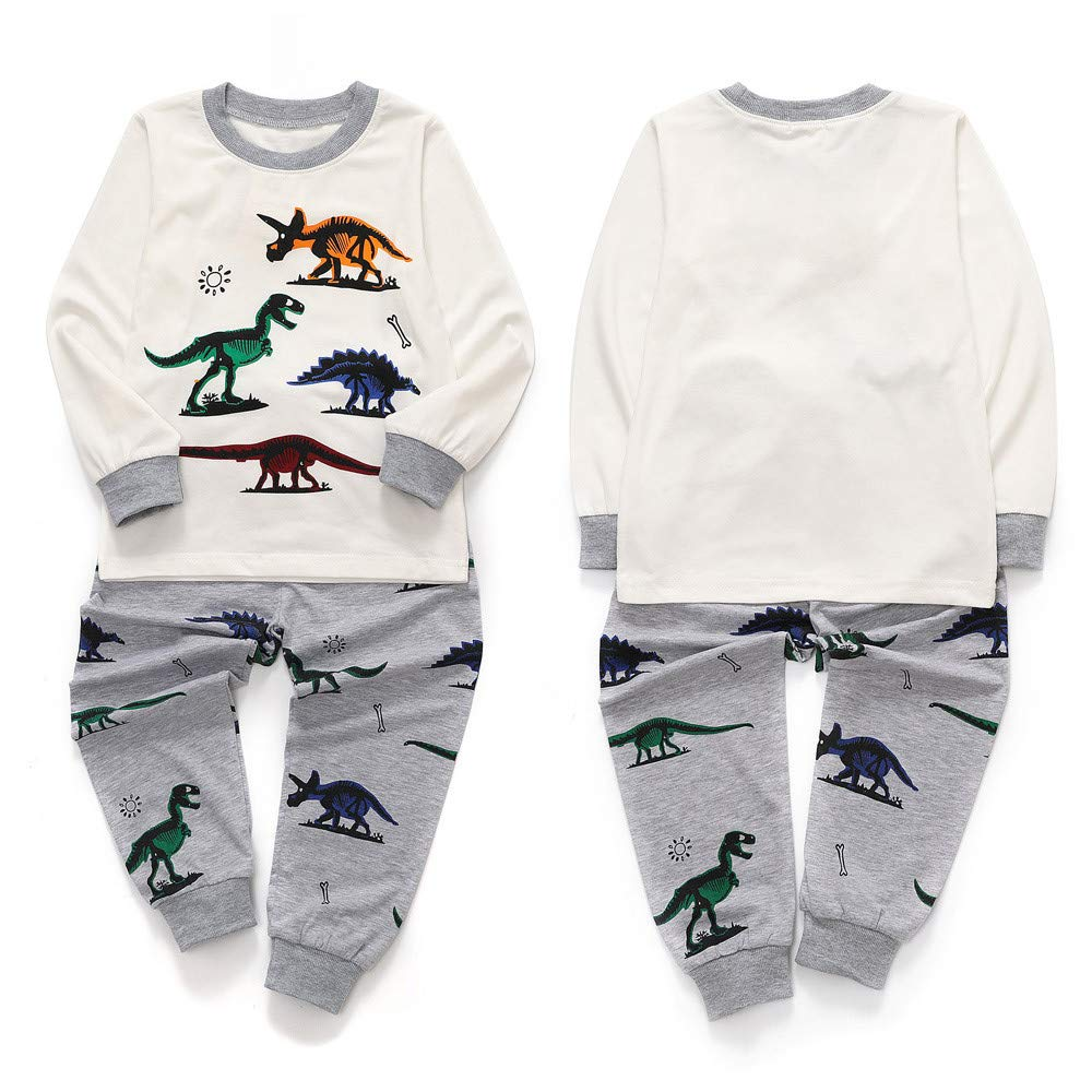 TheRang Toddler Kids Baby Boys Girls Pajamas Cartoon Dinosaur Tops Pants Outfits Set