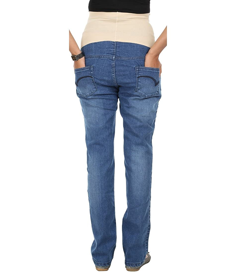 6c372e20b2f53 Kriti Western Maternity Tummy Hug Jeans Blue: Amazon.in: Clothing &  Accessories