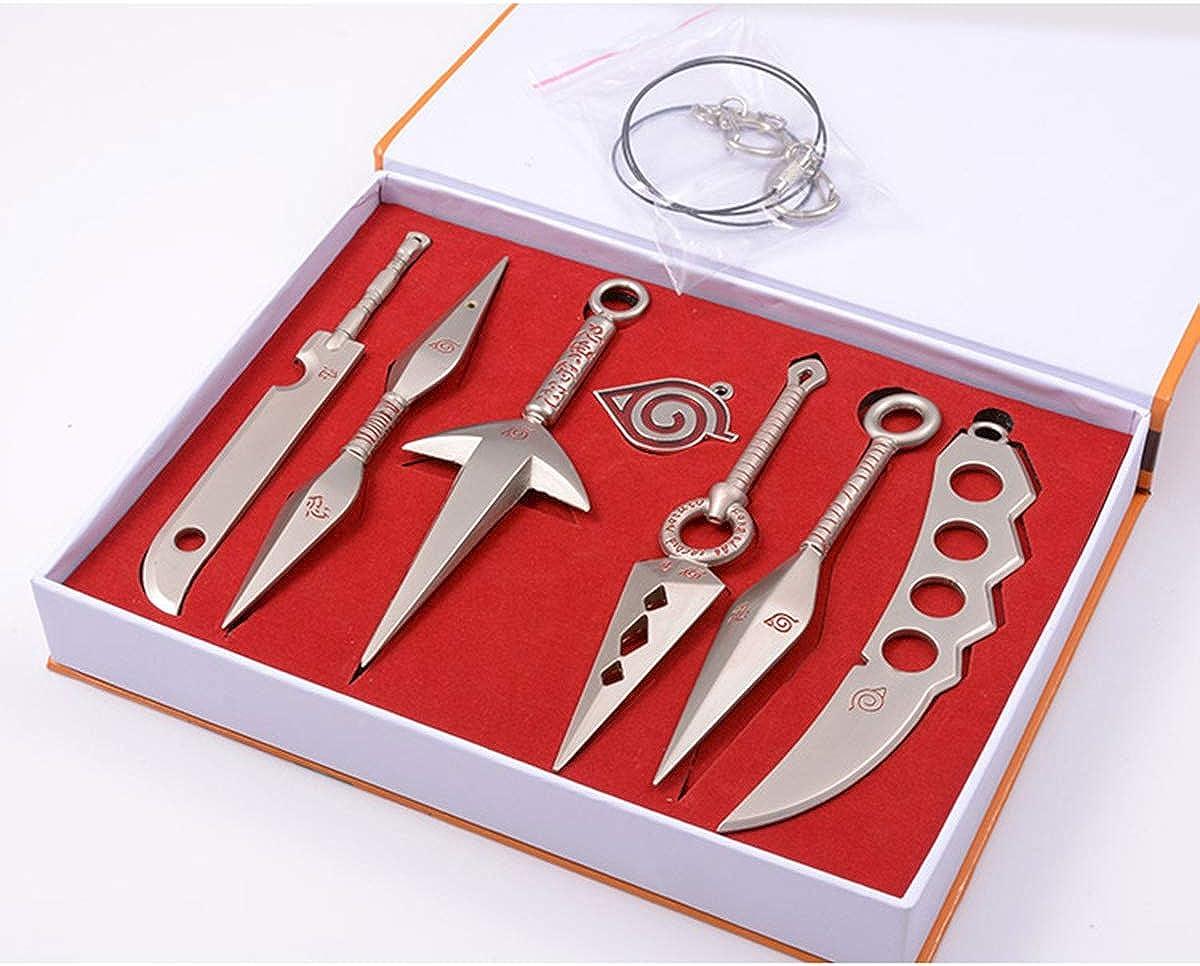 Naruto Ninja Weapon Metal Kunai Prop Konoha Leaf Village Shinobi 7 Pcs Toy Necklace