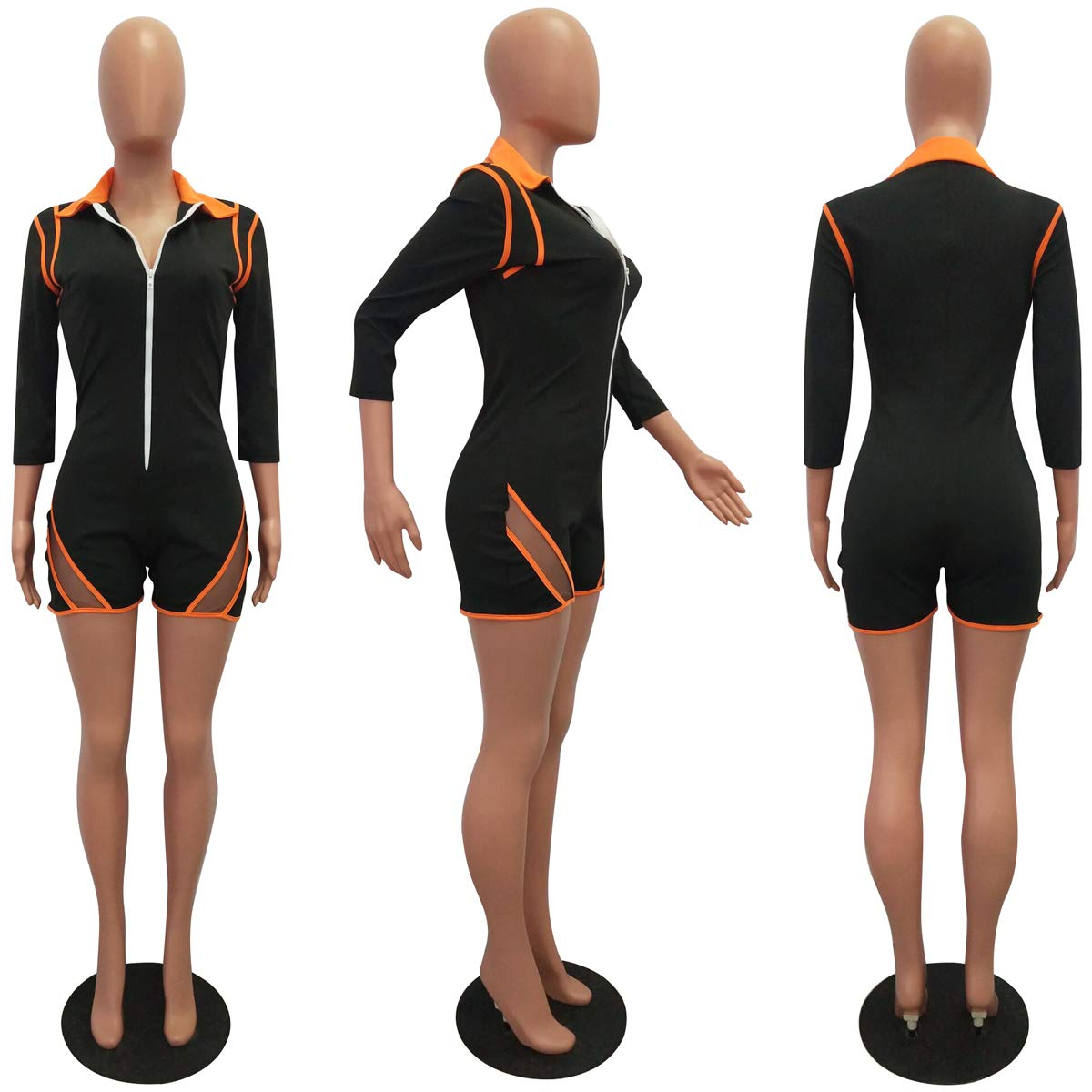 ThusFar Women\'s Sexy One Piece Outfits - Mesh Patchwork Zip Up Striped Long Sleeve Bodycon Romper Jumpsuits Medium Orange